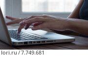 Купить «Девушка набирает текст на ноутбуке», видеоролик № 7749681, снято 18 июля 2015 г. (c) Константин Колосов / Фотобанк Лори