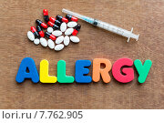 Купить «allergy colorful word in the wooden background», фото № 7762905, снято 22 октября 2018 г. (c) PantherMedia / Фотобанк Лори
