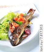 Купить «Baked trout with tomatoes and green salad», фото № 7817913, снято 24 февраля 2019 г. (c) PantherMedia / Фотобанк Лори