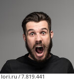 Купить «Portrait of a young surprised businessman with opened mouth», фото № 7819441, снято 23 января 2019 г. (c) PantherMedia / Фотобанк Лори