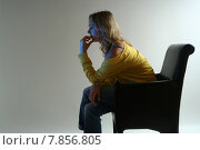 Купить «young woman sitting single alone», фото № 7856805, снято 19 октября 2019 г. (c) PantherMedia / Фотобанк Лори