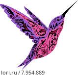 Колибри, фиолетовый цвет. Стоковая иллюстрация, иллюстратор Буркина Светлана / Фотобанк Лори