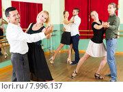 Купить «men and women having dancing class in studio», фото № 7996137, снято 19 октября 2018 г. (c) Яков Филимонов / Фотобанк Лори