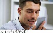 Купить «businessman with calling on smartphone», видеоролик № 8079641, снято 9 июля 2015 г. (c) Syda Productions / Фотобанк Лори