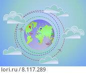 Карта путешествий в форме планеты. Стоковая иллюстрация, иллюстратор Людмила Любицкая / Фотобанк Лори