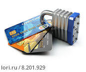 Купить «Secure payment internet online shopping concept.. Credit cards and padlock.», фото № 8201929, снято 13 октября 2018 г. (c) Maksym Yemelyanov / Фотобанк Лори