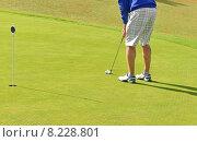 Купить «Игрок в гольф, мяч и лунка. Виерумяки», фото № 8228801, снято 18 июля 2015 г. (c) Валерия Попова / Фотобанк Лори