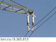 Купить «mast insulator traverse high tension», фото № 8365813, снято 23 мая 2019 г. (c) PantherMedia / Фотобанк Лори