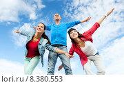 Купить «group of teenagers spreading hands», фото № 8380553, снято 20 июля 2013 г. (c) Syda Productions / Фотобанк Лори