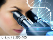 Купить «close up of scientist looking to microscope in lab», фото № 8395405, снято 4 декабря 2014 г. (c) Syda Productions / Фотобанк Лори