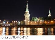 Купить «Ночная Москва, набережная и Кремль», фото № 8446417, снято 26 июля 2015 г. (c) Владимир Журавлев / Фотобанк Лори