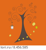 Осеннее дерево с падающими листьями и старой лампой. Стоковая иллюстрация, иллюстратор Bellastera / Фотобанк Лори