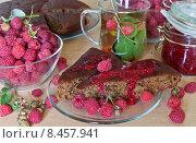 Купить «Чаепитие с малиной. Спелые ягоды, зеленый чай с малиновым листом, ягодный пирог и свежее варенье», фото № 8457941, снято 29 июля 2015 г. (c) Виктория Катьянова / Фотобанк Лори