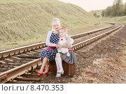 Купить «Mother with the daughter go on rails», фото № 8470353, снято 4 июня 2015 г. (c) Майя Крученкова / Фотобанк Лори