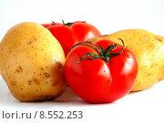 Купить «Two potatoes and two tomatoes», фото № 8552253, снято 19 июня 2019 г. (c) PantherMedia / Фотобанк Лори
