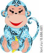 Синяя обезьянка. Стоковая иллюстрация, иллюстратор Буркина Светлана / Фотобанк Лори