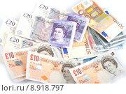 Купить «pile of British and Euro money», фото № 8918797, снято 22 февраля 2019 г. (c) PantherMedia / Фотобанк Лори