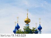 Купола православной церкви с крестами на фоне пасмурное небо. Стоковое фото, фотограф Михаил Степанов / Фотобанк Лори