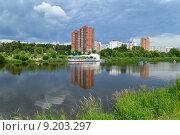 Купить «Пруд на реке Яузе в Мытищах Московской области», эксклюзивное фото № 9203297, снято 30 июня 2015 г. (c) lana1501 / Фотобанк Лори