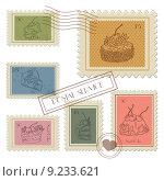 Векторные почтовые марки на кондитерскую тематику. Стоковая иллюстрация, иллюстратор Liliya Mekhonoshina / Фотобанк Лори