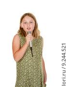 Купить «young girl singing isolated on white», фото № 9244521, снято 24 января 2019 г. (c) PantherMedia / Фотобанк Лори