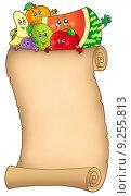 Купить «Cartoon fruits holding old scroll», иллюстрация № 9255813 (c) PantherMedia / Фотобанк Лори