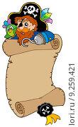 Купить «Scroll with pirate and parrot», иллюстрация № 9259421 (c) PantherMedia / Фотобанк Лори