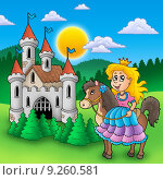 Купить «Princess on horse with old castle», иллюстрация № 9260581 (c) PantherMedia / Фотобанк Лори