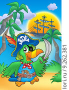 Купить «Pirate parrot with boat», иллюстрация № 9262381 (c) PantherMedia / Фотобанк Лори