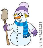Купить «Snowman with broom», иллюстрация № 9263281 (c) PantherMedia / Фотобанк Лори