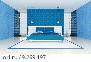 Купить «contemporary blue bedroom», фото № 9269197, снято 27 мая 2019 г. (c) PantherMedia / Фотобанк Лори