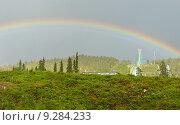 Купить «Радуга на все небо на фоне трамплина на финском курорте Ruka, Куусамо», фото № 9284233, снято 8 июля 2015 г. (c) Валерия Попова / Фотобанк Лори