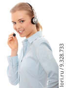Купить «Call center woman with headset», фото № 9328733, снято 24 июля 2020 г. (c) PantherMedia / Фотобанк Лори