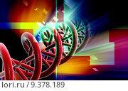 Купить «Digital illustration DNA structure in colour background », иллюстрация № 9378189 (c) PantherMedia / Фотобанк Лори