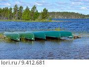 Купить «Национальный парк Оуланка, Финляндия. Каноэ на берегу», фото № 9412681, снято 10 июля 2015 г. (c) Валерия Попова / Фотобанк Лори
