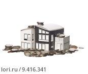 Купить «House model standing on american coins», фото № 9416341, снято 22 июля 2019 г. (c) PantherMedia / Фотобанк Лори