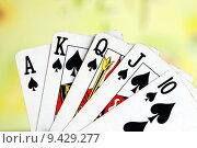 Купить «Royal flush from the poker cards concepts of winning», фото № 9429277, снято 20 октября 2018 г. (c) PantherMedia / Фотобанк Лори