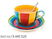 Купить «Stripy cup and saucer isolated on white», фото № 9445529, снято 13 декабря 2018 г. (c) PantherMedia / Фотобанк Лори