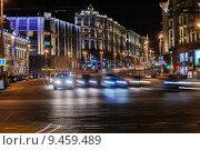 Купить «Тверская улица ночью», эксклюзивное фото № 9459489, снято 12 августа 2015 г. (c) Алёшина Оксана / Фотобанк Лори