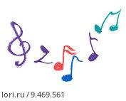 Купить «Colorful music notation drawing on white», фото № 9469561, снято 21 октября 2019 г. (c) PantherMedia / Фотобанк Лори