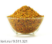 Купить «Bowl with bee pollen isolated on white. Nutritional supplement», фото № 9511321, снято 9 декабря 2018 г. (c) PantherMedia / Фотобанк Лори