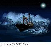Купить «Sinking Ship at night Vector», фото № 9532197, снято 20 марта 2019 г. (c) PantherMedia / Фотобанк Лори
