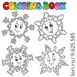 Coloring book cartoon snowflakes 1. Стоковая иллюстрация, иллюстратор Klara Viskova / PantherMedia / Фотобанк Лори