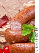 Купить «Home-baked Polish sausage (Swojska)», фото № 9657181, снято 16 августа 2018 г. (c) PantherMedia / Фотобанк Лори