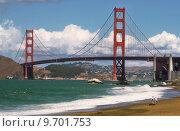 Купить «Golden Gate Bridge as seen from Baker Beach in San Francisco, USA.», фото № 9701753, снято 22 февраля 2019 г. (c) PantherMedia / Фотобанк Лори