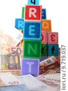 Купить «rent money in toy blocks», фото № 9719037, снято 20 сентября 2019 г. (c) PantherMedia / Фотобанк Лори