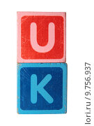 Купить «uk in toy block letters», фото № 9756937, снято 20 сентября 2019 г. (c) PantherMedia / Фотобанк Лори