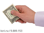 Купить «hand with one dollar», фото № 9889153, снято 28 января 2020 г. (c) PantherMedia / Фотобанк Лори