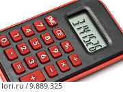 Купить «MIni red calculator isolated on white », фото № 9889325, снято 19 июня 2019 г. (c) PantherMedia / Фотобанк Лори