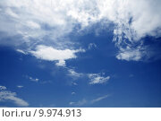 Купить «Blue beautiful sky with white clouds  in sunny day», фото № 9974913, снято 22 сентября 2018 г. (c) PantherMedia / Фотобанк Лори